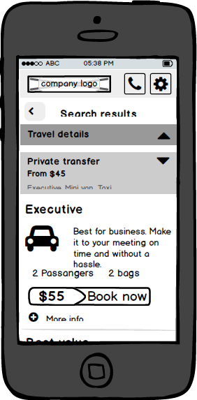 GT mobile wireframe